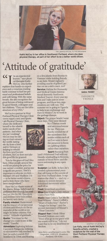 Attitude of Gratitude News Article, The Oregonian